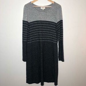 Anthropologie Ella Mara Gray striped knit Dress